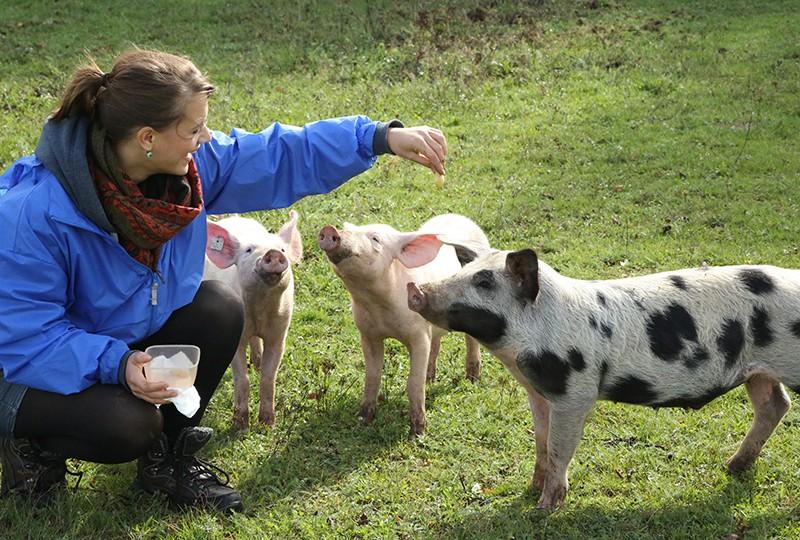 Denise Weber besucht unsere Tiere immer wieder und bringt ihnen Leckereien mit.